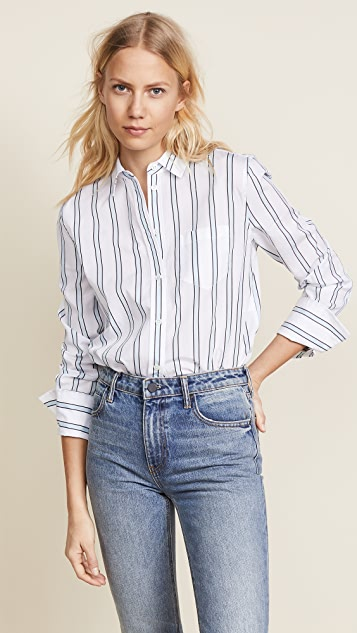 Equipment Huntley Buttondown - Bright White/Cool Breeze