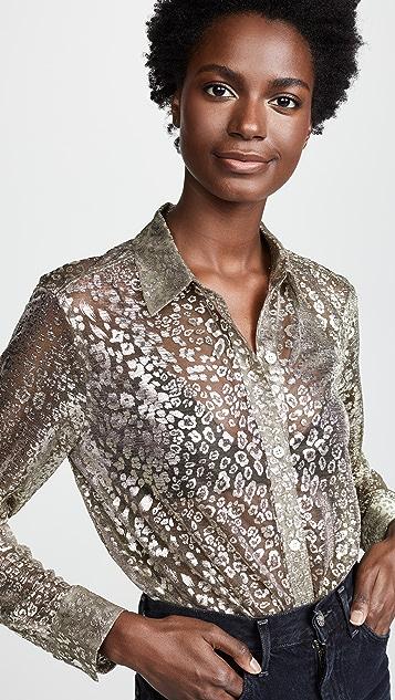 Equipment Рубашка на пуговицах Essential с металлизированным леопардовым кружевом
