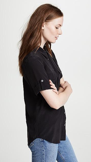 Equipment Short Sleeve Slim Signature Blouse