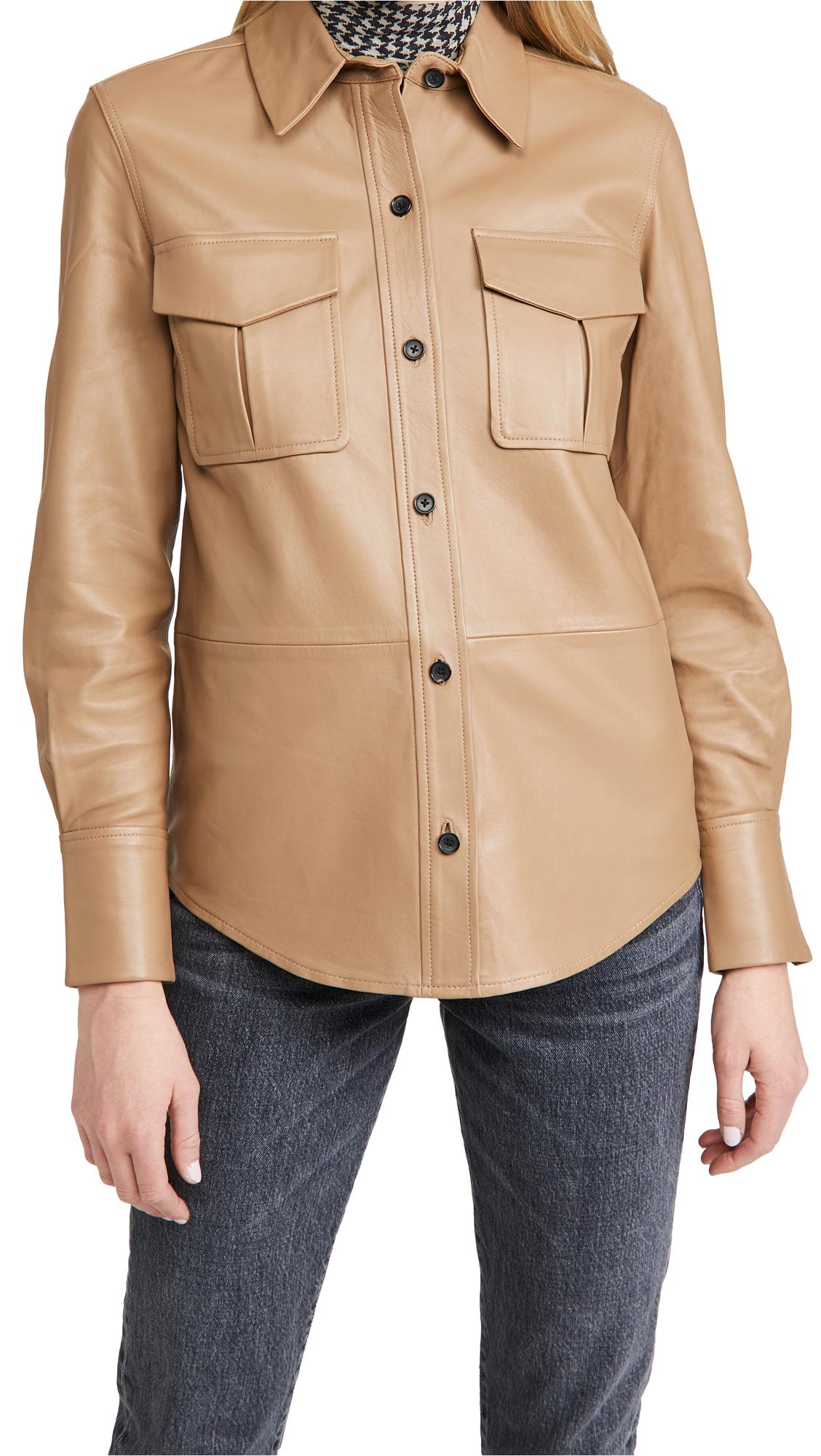 Equipment Garcella Leather Button Down Shirt
