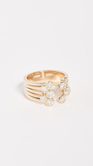 Era 14k Gold Poppy Bulb Ring - Yellow Gold/White Diamonds
