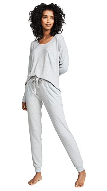 Emerson Road Waffle Long Sleeve Pajama Set