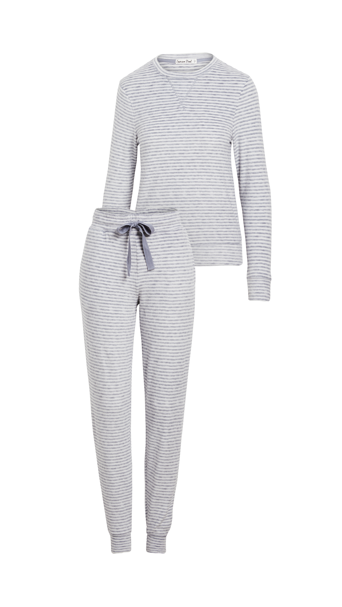 Emerson Road Fuzzy Luxe Crew Neck with Joggers Pajama Set