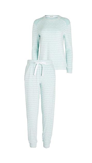 Emerson Road Fuzzy Luxe 圆领上衣和慢跑长裤睡衣套装
