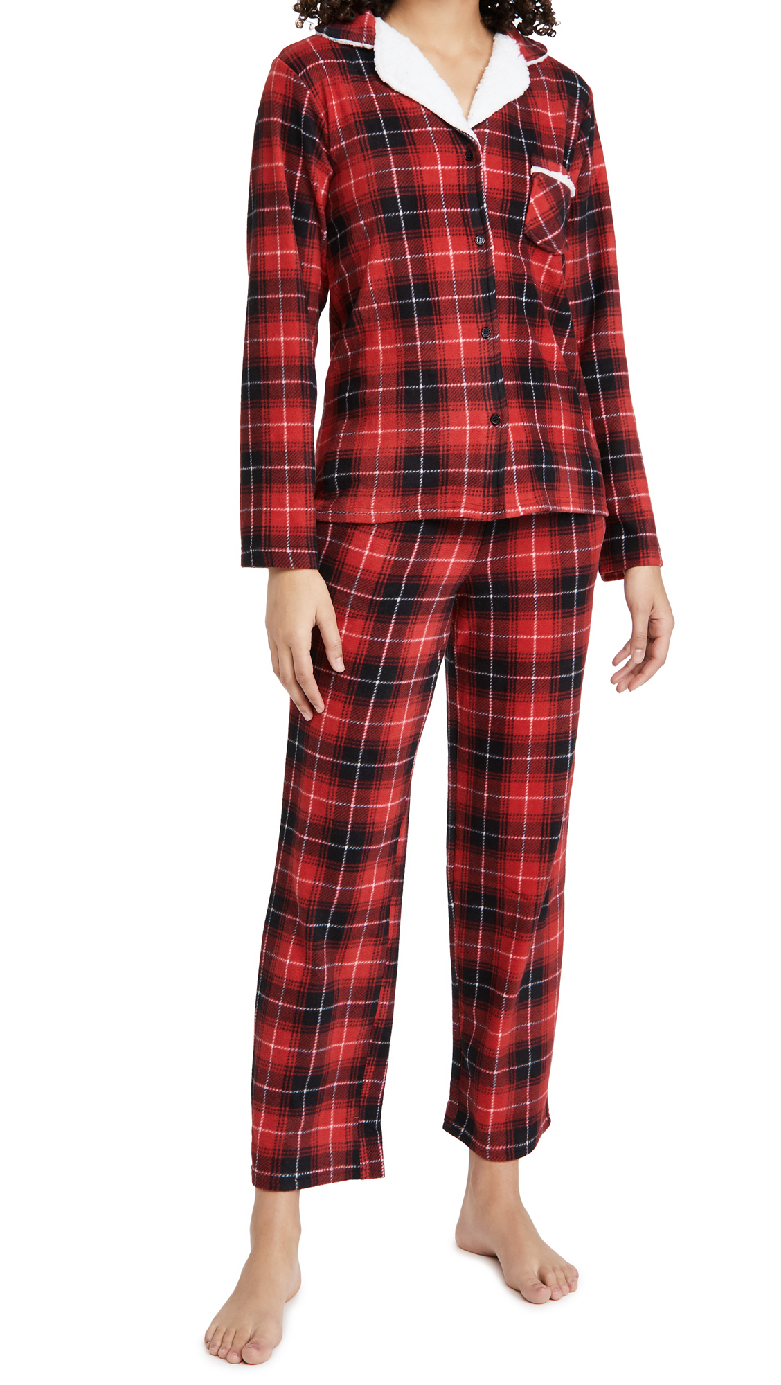 Emerson Road Heathcliffe Plaid Sherpa Collar PJ Set
