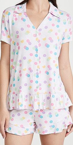 Emerson Road - Collared Peplum Top & Shorts Pajama Set
