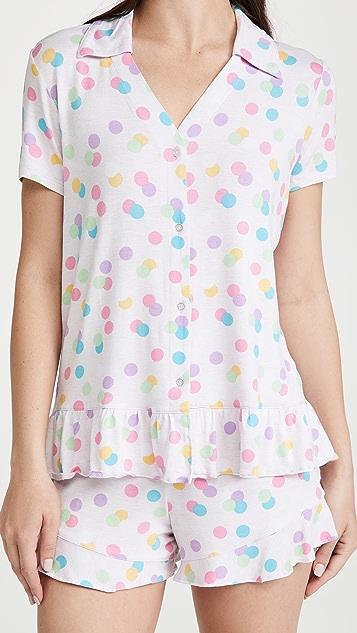Emerson Road Collared Peplum Top & Shorts Pajama Set
