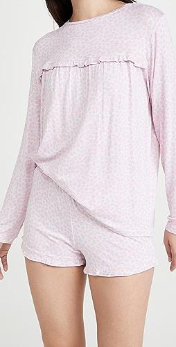 Emerson Road - Ruffled Long Sleeve Top & Shorts PJ Set