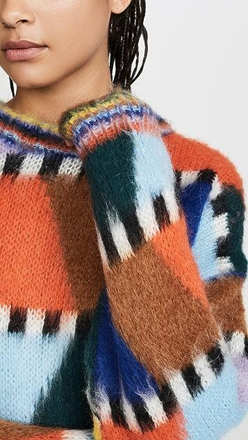Essentiel Antwerp Мягкий свитер Tahini в технике интарсия