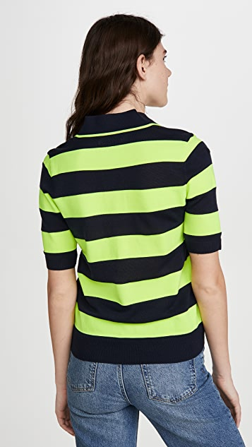 Essentiel Antwerp Vailhan 荧光色条纹马球衫