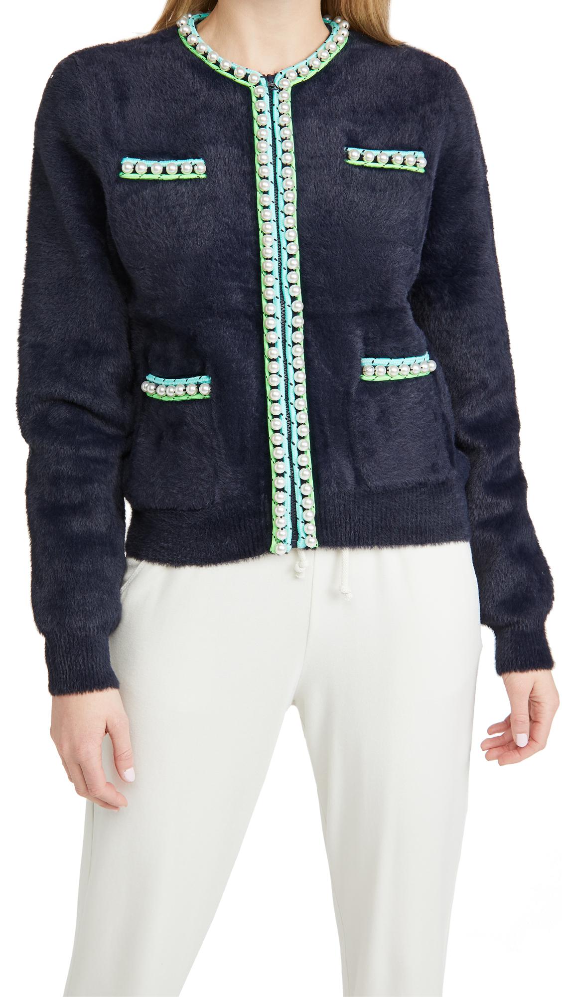 Essentiel Antwerp Wirl Knit Imitation Pearls Cardigan