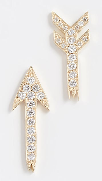 Established 18K Gold Broken Arrow Diamond Stud Earrings