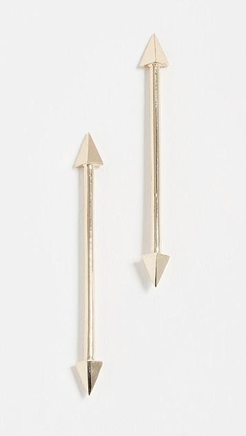 Established 14k Gold Long Double Arrow Stud Earrings