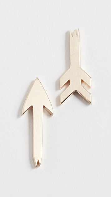 Established 14k Gold Broken Arrow Stud Earrings