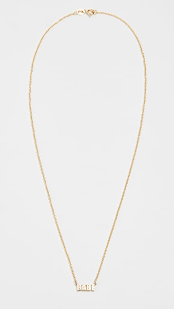 Established 14k Gold Babe Pendant Necklace