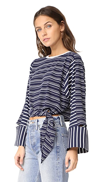 EVIDNT Knotted Crop Top with Cutout Sleeves