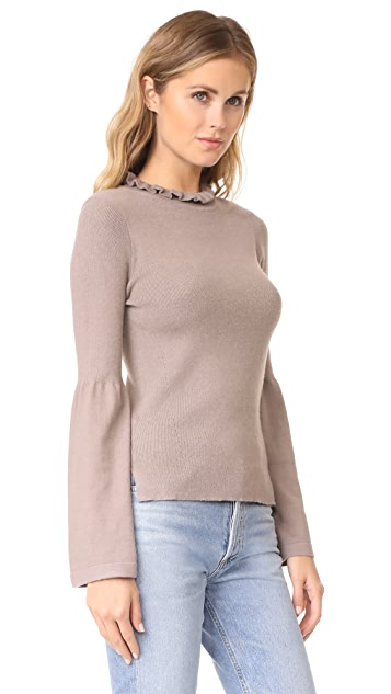 EVIDNT Frilled Neck Top with Bell Cuffs