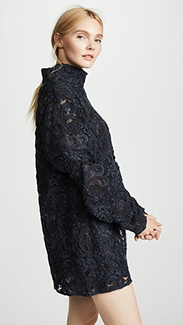Ewa Herzog Mock Neck Lace Mini Dress