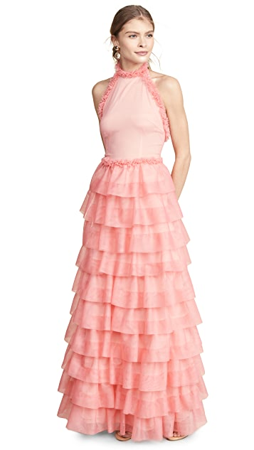 Ewa Herzog Halter Neck Tiered Gown