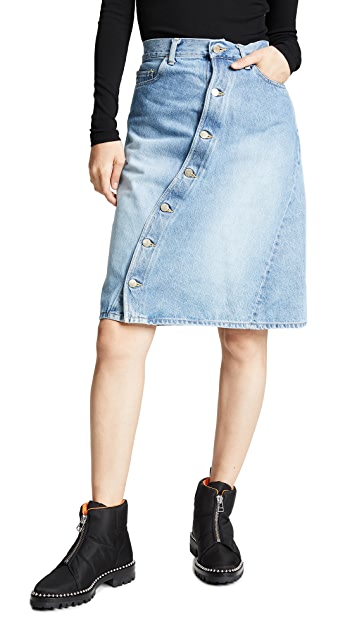 Facetasm Diagonal Button Skirt