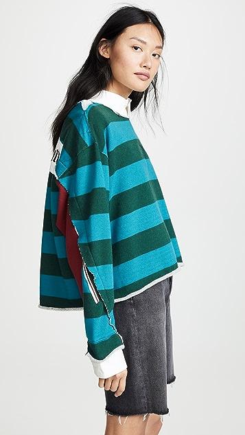 Facetasm Collared Striped Sweatshirt