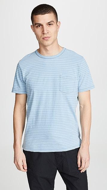 Faherty Short Sleeve Indigo Pocket T-Shirt