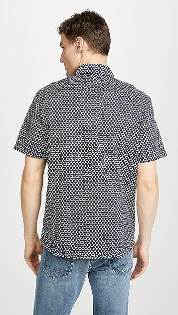 Faherty Short Sleeve Coast Shirt In Fishscale Batik