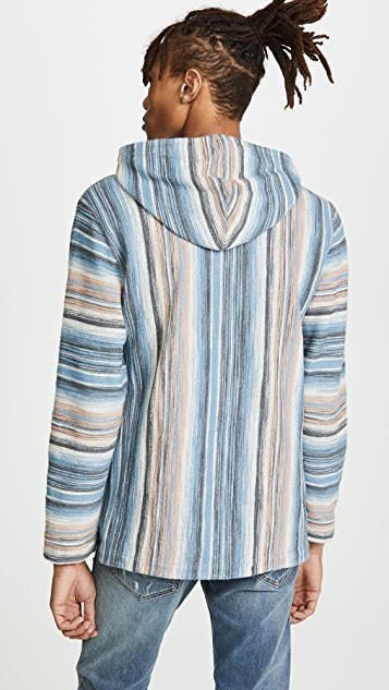 Faherty Long Sleeve Pullover Reversible Terry Poncho Hoodie