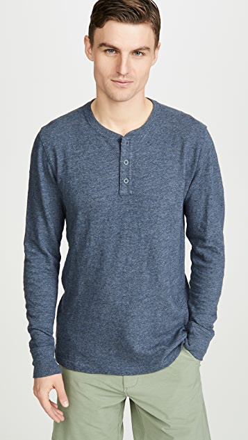 Faherty Slub Cotton Long Sleeve Henley Tee