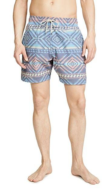 Faherty Beacon Print Swim Trunks