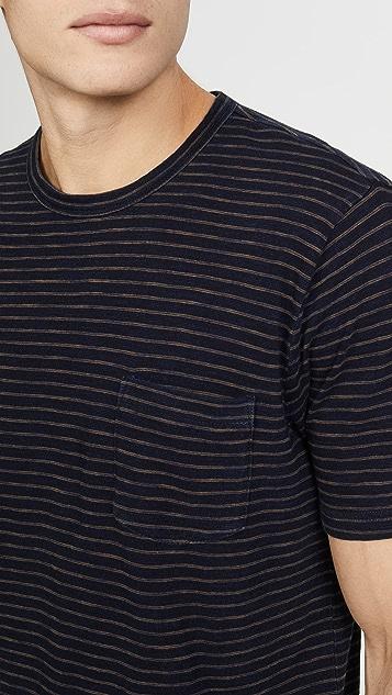 Faherty Short Sleeve Striped Pocket Tee
