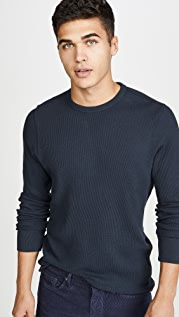 Faherty Long Sleeve Essential Waffle Crew Neck Tee