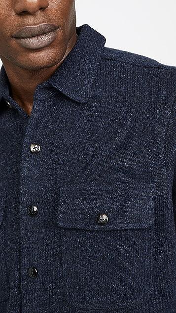 Faherty Long Sleeve Wool CPO Sweater