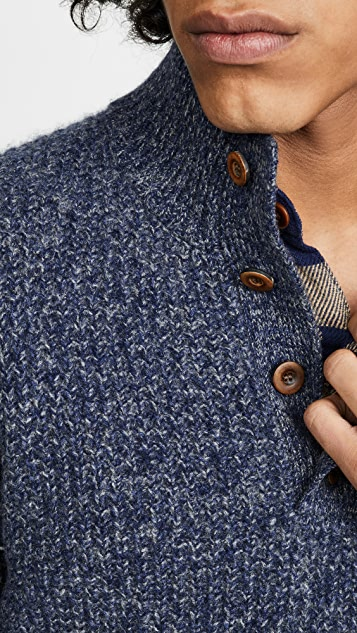 Faherty Cashmere Mockneck Button Sweater