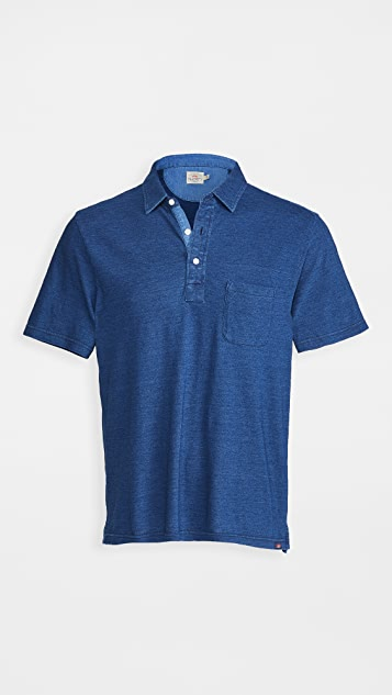 Faherty Short Sleeve Indigo Polo