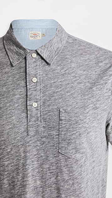 Faherty Short Sleeve Heather Polo