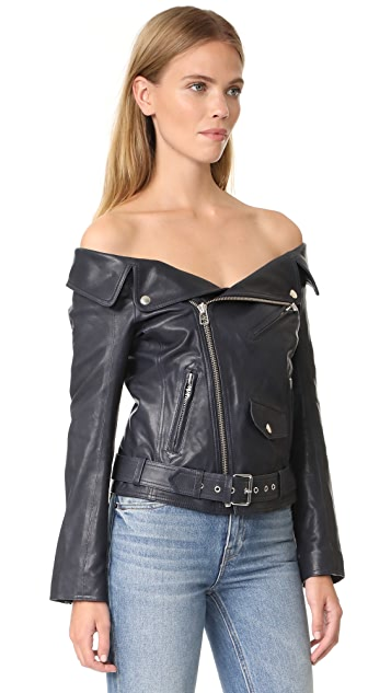 Faith Connexion Off the Shoulder Leather Jacket