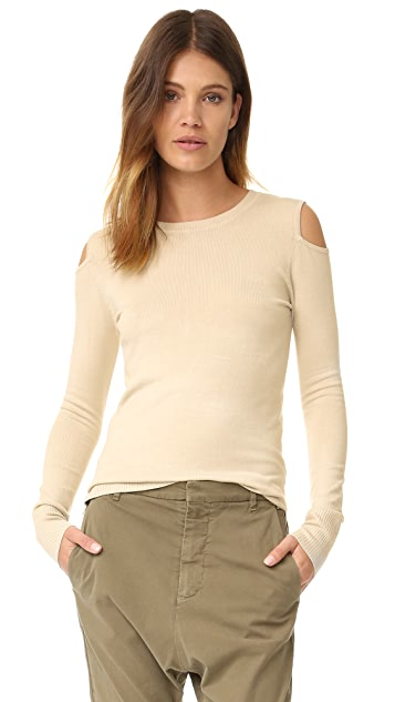 525 Cold Shoulder Cutout Crew  Neck Sweater