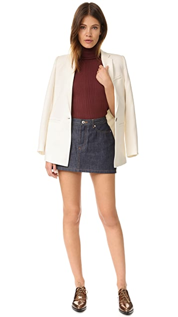 525 America Variegated Rib Sleeveless Turtleneck Sweater