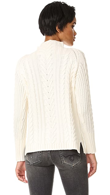 525 America Mock Neck Cable Sweater