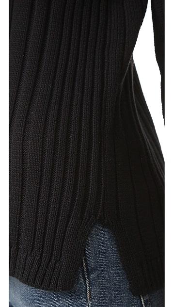525 America Deep V Neck Variegated Rib Sweater