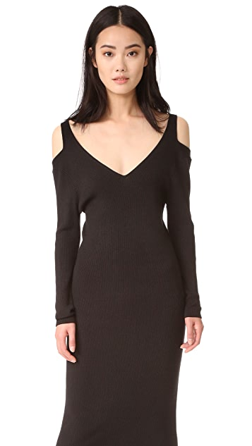 525 America Rib V Neck Cold Shoulder Dress