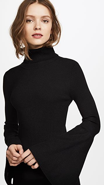 525 America Rib Tulip Sleeve Turtleneck Dress