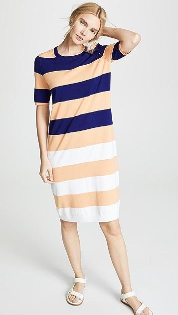 525 America Striped Midi Dress - Tango Orange Multi