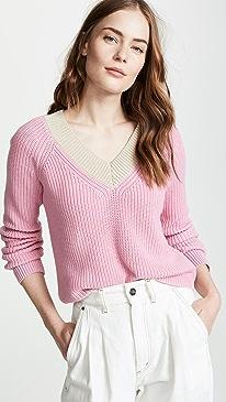 Cotton Shaker Colorblock Sweater