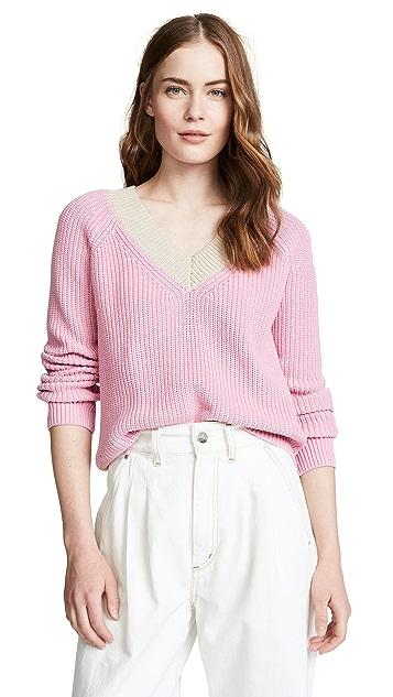 525 America Cotton Shaker Colorblock Sweater