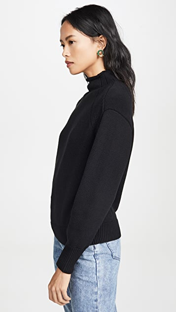 525 Transfer Detail Mock Neck Sweater
