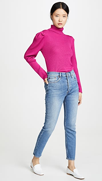 525 Metallic Puff Sleeve Pullover