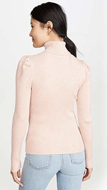 525 Metallic Rib Puff Sleeve Sweater