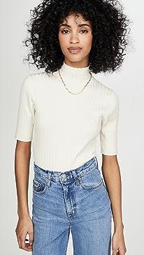 Wide Rib Mock Neck Pullover